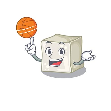 A mascot picture of sugar cube cartoon character playing basketball