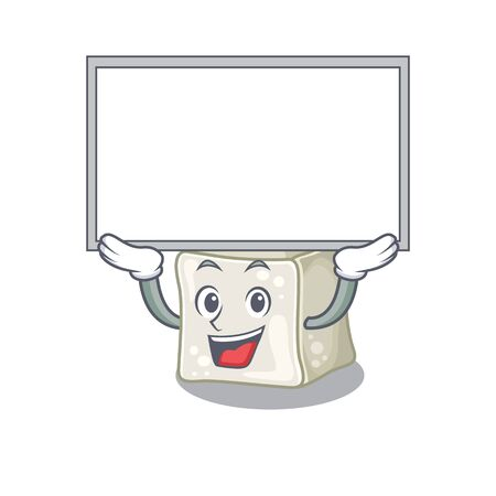A mascot picture of sugar cube raised up board