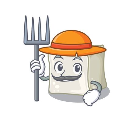 Cheerfully Farmer sugar cube cartoon picture with hat and tools