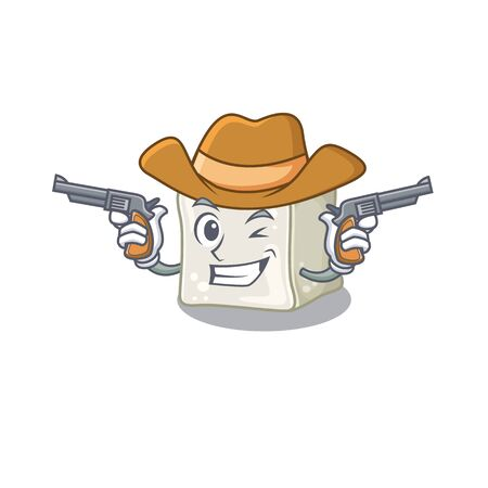 Sugar cube dressed as a Cowboy having guns