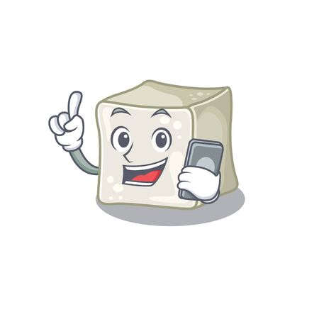 Cartoon design of sugar cube speaking on a phone