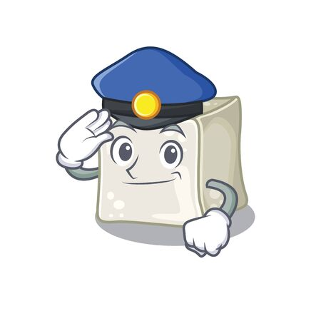 Sugar cube Cartoon mascot performed as a Police officer