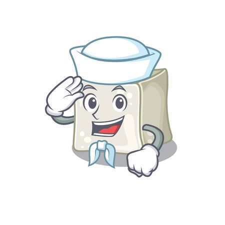 A mascot design of sugar cube Sailor wearing hat