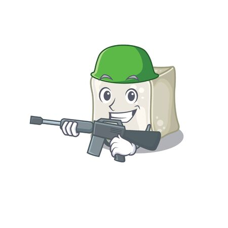A cartoon design of sugar cube Army with machine gun Illusztráció
