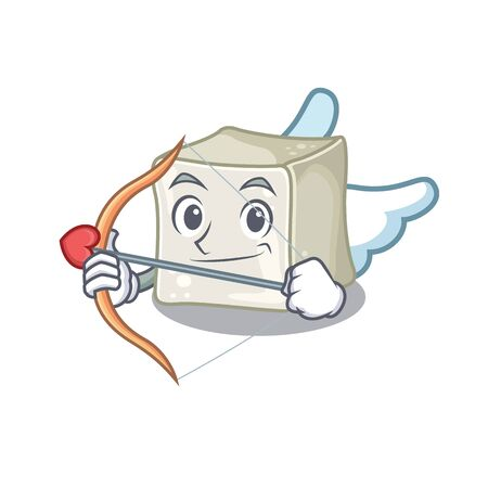 Romantic sugar cube Cupid cartoon character with arrow and wings