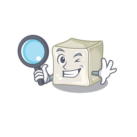 Cool and Smart sugar cube Detective cartoon mascot style