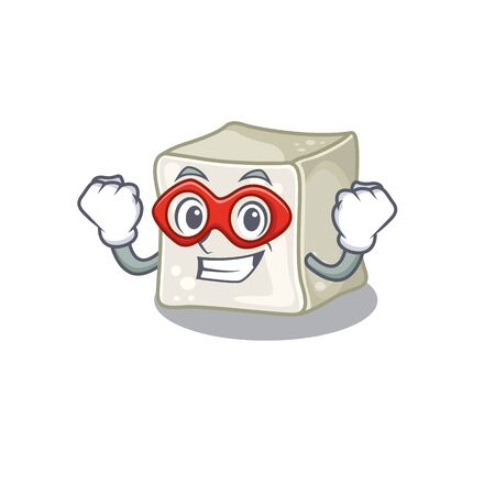 Smiley mascot of sugar cube dressed as a Super hero