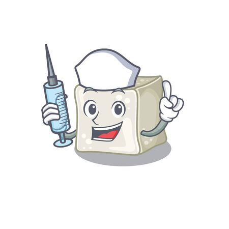 Smiley Nurse sugar cube cartoon character with a syringe Illusztráció