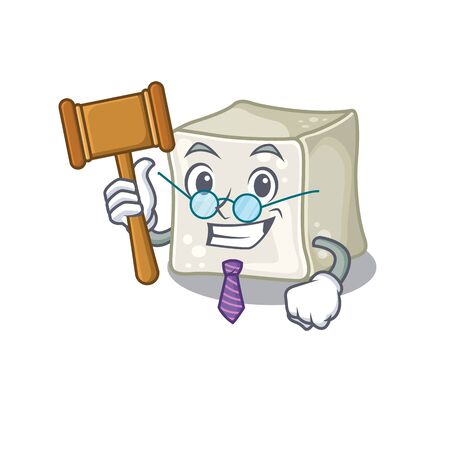 Smart Judge sugar cube in mascot cartoon character style Illusztráció