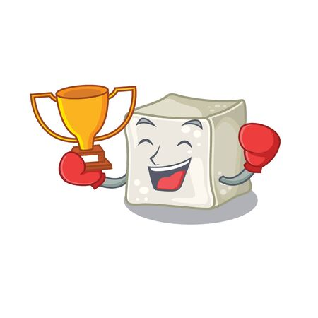 fantastic Boxing winner of sugar cube in mascot cartoon style