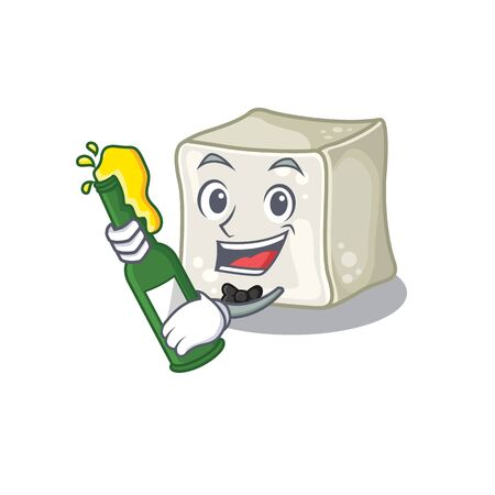 mascot cartoon design of sugar cube with bottle of beer Illusztráció