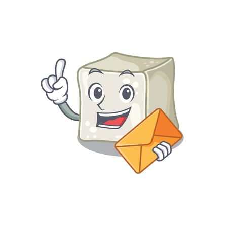 Cheerfully sugar cube mascot design with envelope