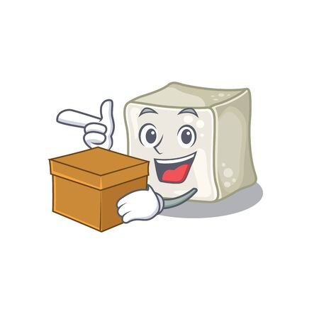 Cute sugar cube cartoon character having a box