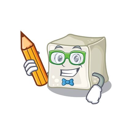 A picture of Student sugar cube character holding pencil Ilustração