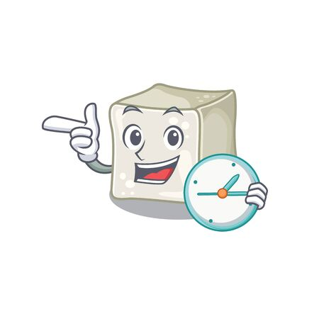 cartoon character style sugar cube having clock 向量圖像