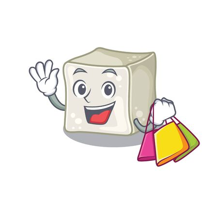 A happy rich sugar cube waving and holding Shopping bag