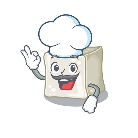 Sugar cube cartoon character wearing costume of chef and white hat