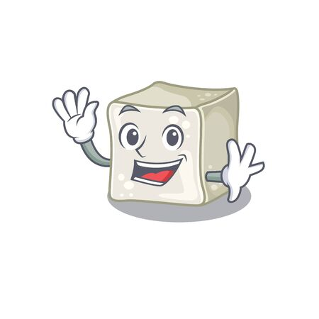 Waving friendly sugar cube cartoon character design