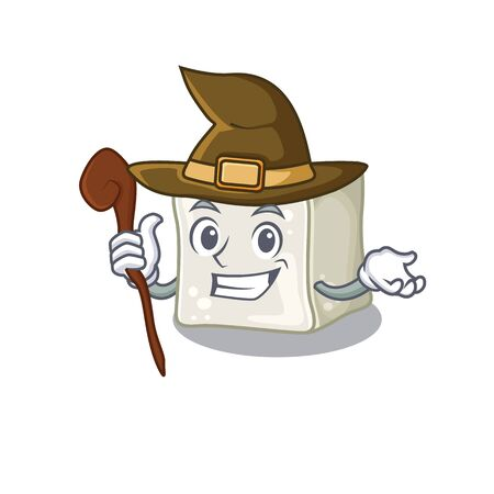 cartoon mascot style of sugar cube dressed as a witch