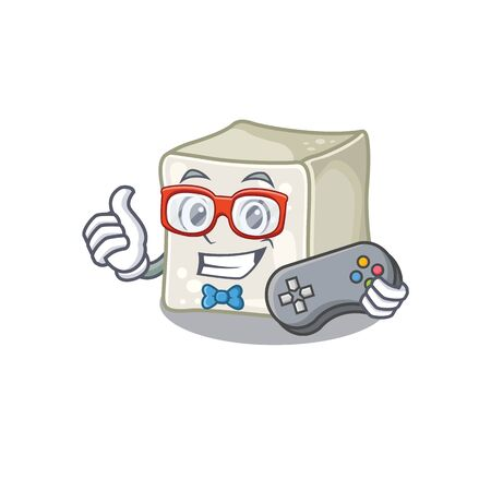 Smiley gamer sugar cube cartoon mascot style