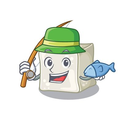 A Picture of happy Fishing sugar cube design