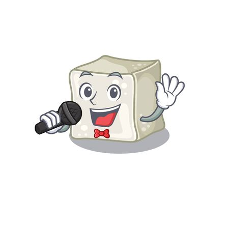 Happy sugar cube singing on a microphone Illusztráció