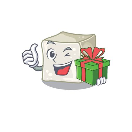 Smiley sugar cube character with gift box Illustration