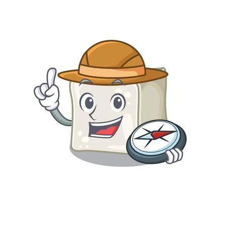 Sugar cube stylized Explorer having a compass