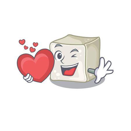 Funny Face sugar cube cartoon character holding a heart Illusztráció