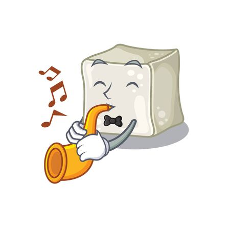 cartoon character style of sugar cube performance with trumpet