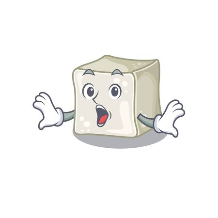Sugar cube cartoon character design on a surprised gesture