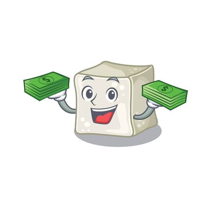 happy rich sugar cube character with money on hands Illusztráció