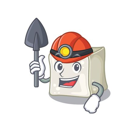 Cool clever Miner sugar cube cartoon character design