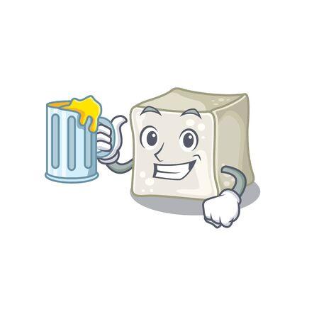 Happy sugar cube mascot design with a big glass