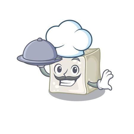 cartoon design of sugar cube as a Chef having food on tray