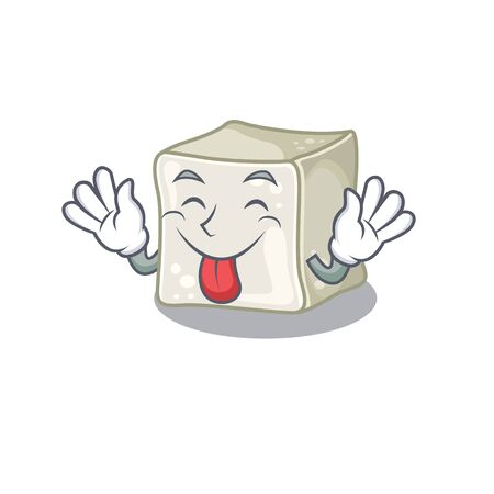 Cute sugar cube cartoon mascot style with Tongue out Illusztráció