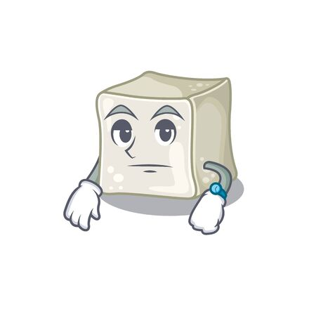 cartoon character design of sugar cube on a waiting gesture Illusztráció