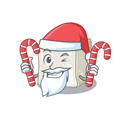 Sugar cube Cartoon character in Santa costume with candy