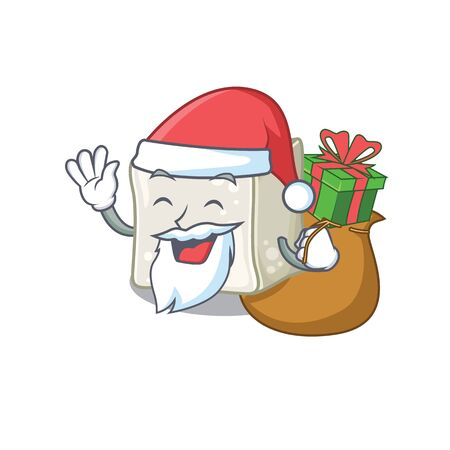 Santa sugar cube Cartoon character design having box of gift Illustration