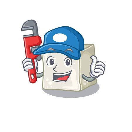 Cool Plumber sugar cube on mascot picture style
