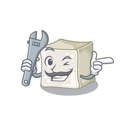 Smart Mechanic sugar cube cartoon character design