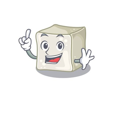 One Finger sugar cube in mascot cartoon character style