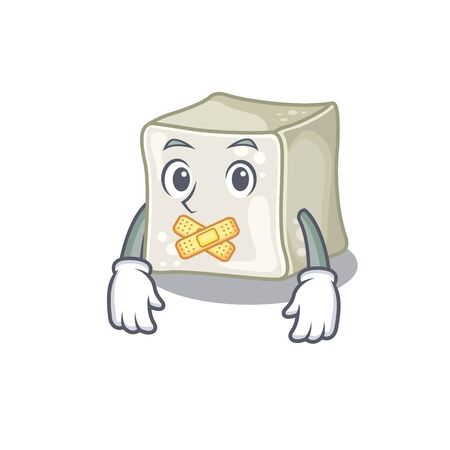 a silent gesture of sugar cube mascot cartoon character design Illusztráció