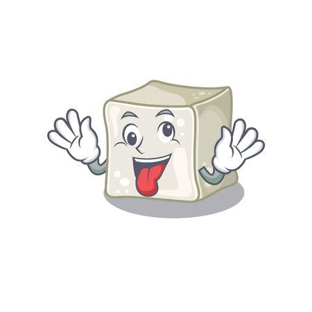 Sugar cube Cartoon character style with a crazy face Illusztráció