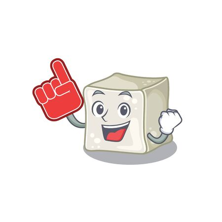 Sugar cube mascot cartoon style holding a Foam finger