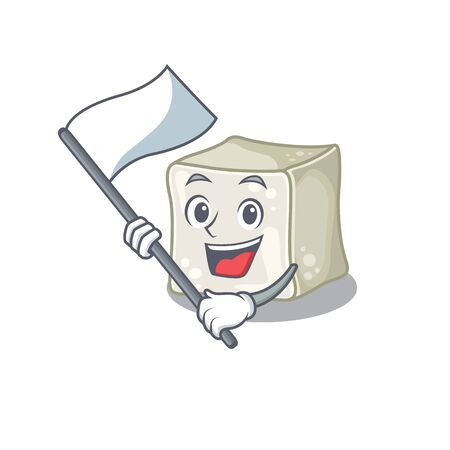 Funny sugar cube cartoon character style holding a standing flag