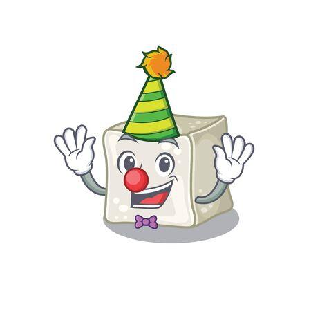 Funny Clown sugar cube cartoon character mascot design