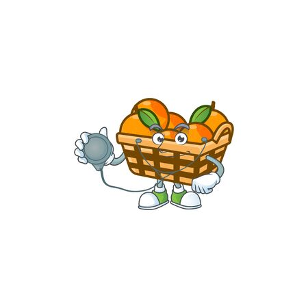 Basket oranges cartoon character style in a Doctor costume with tools. Vector illustration