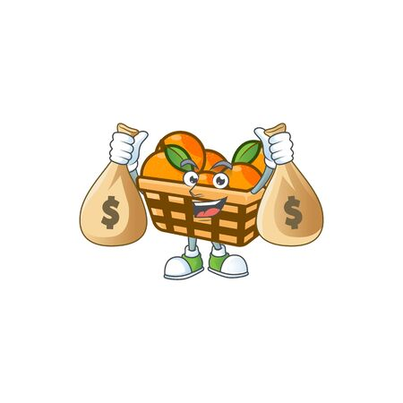 A picture of rich basket oranges cartoon character with two money bags. Vector illustration