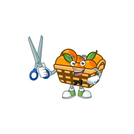 Cool friendly barber basket oranges cartoon character style. Vector illustration